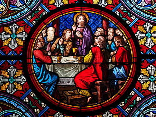 Last Supper stained glass in Basel Cathedral